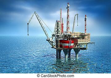 plataforma offshore, perfurar, sea.