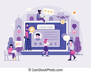 plataforma, serviço, ilustração, crm