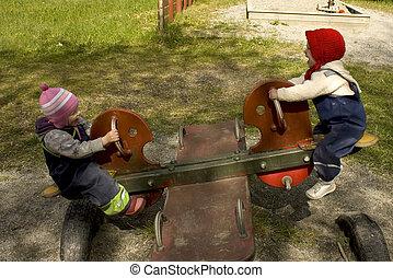 playground., teeter totter, tocando, crianças