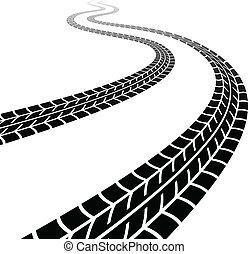 pneumáticos, enrolamento, vetorial, traço