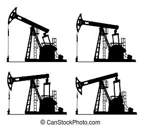 poço, bomba, óleo, silueta, macaco