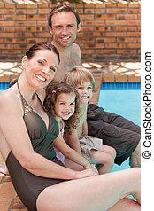 po, natação, ao lado, família, feliz