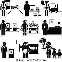 pobre, classe, trabalhos, baixo, ocupações