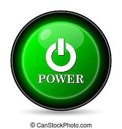 poder, ícone, botão