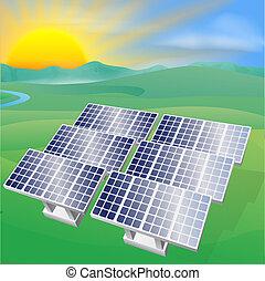 poder, energia solar, ilustração