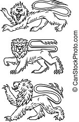 poderoso, leões, predadores