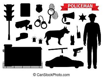 polícia, ícones, policial, silueta, equipamento
