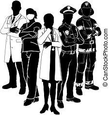 polícia, emergência, doutor, fogo, silhuetas, equipe