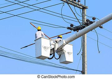 polaco, eletricista, elétrico, trabalhando