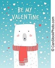 polar, card., romanticos, valentine, mood., urso, ilustração, mão, snow., vetorial, cute, saudações, desenhado, branca, caricatura, bear.