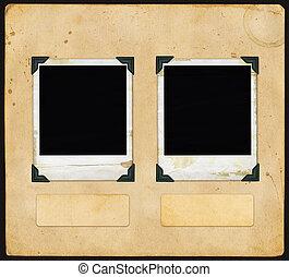 polaroid, vindima, papel, -