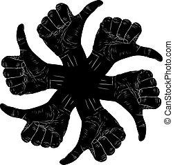 polegar, abstratos, seis, cima, mão, pretas, sinais, whit, símbolo, redondo