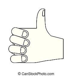 polegar cima, isolado, mão, pretas, branca, caricatura