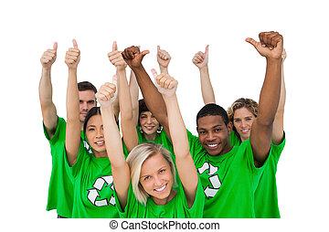 polegares, ambiental, grupo, dar, alegre, cima