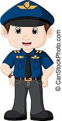 policial, caricatura, jovem