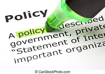 'policy', destacado, verde