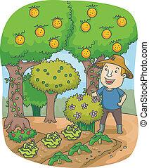 pomar, agricultor