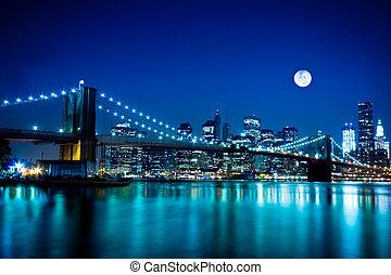 ponte, brooklyn, cidade, york, novo