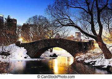 ponte, central, inverno, parque cidade, york, novo