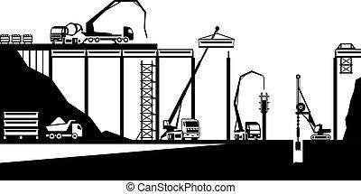 ponte, construção, estrada