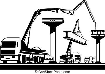 ponte, construção, predios, maquinaria