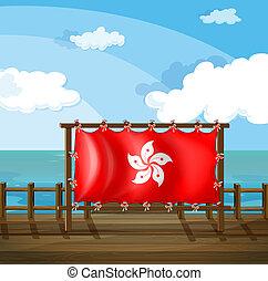 ponte, hong, frame madeira, kong, bandeira