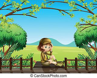 ponte madeira, menina, sentando