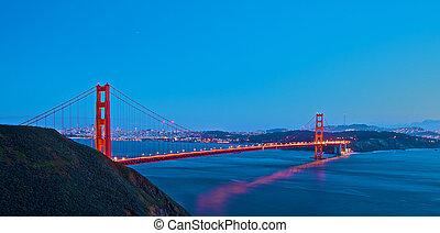 ponte, pôr do sol, portão, dourado