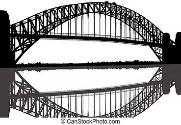 ponte, silueta, porto sydney