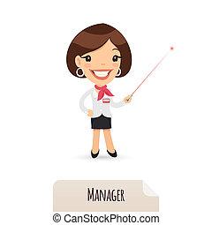 ponteiro, gerente, laser, femininas