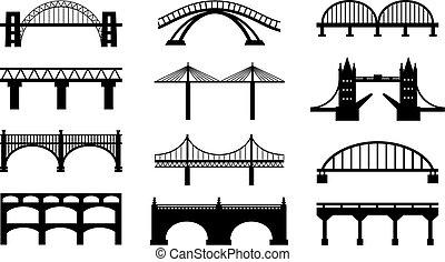 pontes, silhuetas, vetorial, ícones