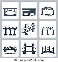 pontes, vetorial, jogo, isolado, ícones