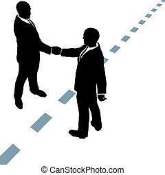 pontilhado, pessoas negócio, apertar as mãos, linha, concorde