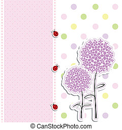 ponto, cartão, fundo, ladybird, desenho, flor, roxo, polca