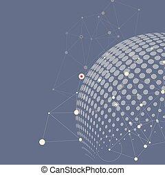ponto, halftone, linha, ligar, molécula, vetorial, círculo