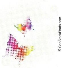 pontos, arco íris, vetorial, ilustração, butterfly.