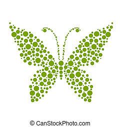 pontos, borboleta, forma, desenho, seu