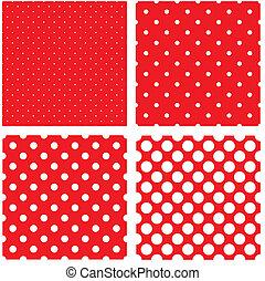 pontos, padrão, branca, polca, vermelho