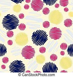 pontos, padrão, coloridos, rabisco, seamless, divertimento, experiência.