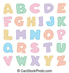 pontos, polca, alfabeto, pastels
