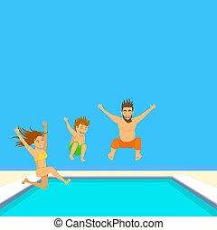 pool., quadro familiar, illustration., natação, vetorial