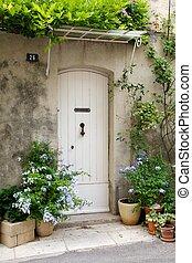 porta, frente, francês