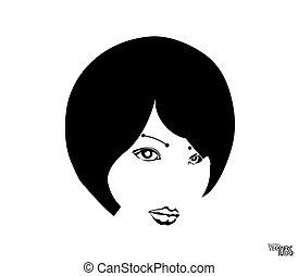 portrait., menina bonita, face., gravura, branca, ícone, femininas, desenhado, jovem, isolado, rosto, vetorial, mão, ilustração, pretas, esboço, bonito, beleza, experiência.