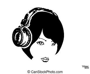 portrait., menina, decoração, gravura, branca, fone, ícone, desenhado, hobbies., música, isolado, rosto, vetorial, mão, ilustração, pretas, desenho, esboço, bonito, beleza, dj, experiência., juventude