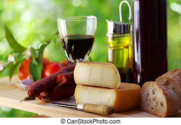 português, vinho, pão, vermelho, queijo