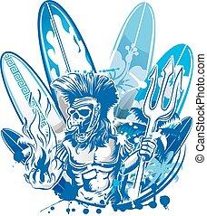 poseidon, surfista, mortos, surfboard