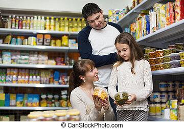 positivo, estanhado, pais, menininha, sorrindo, comprando