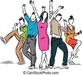positivo, feliz, grupo, ilustração, pessoas