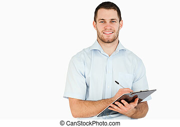 poste, notas, sorrindo, área de transferência, empregado, levando, jovem