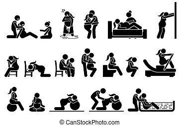 posturas, trabalho, home., posições, parto